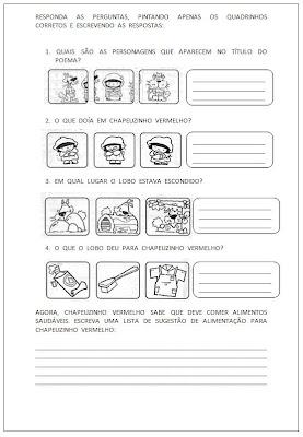 Atividade Chapeuzinho Vermelho - Responda as Perguntas - Atividade para alfabetização