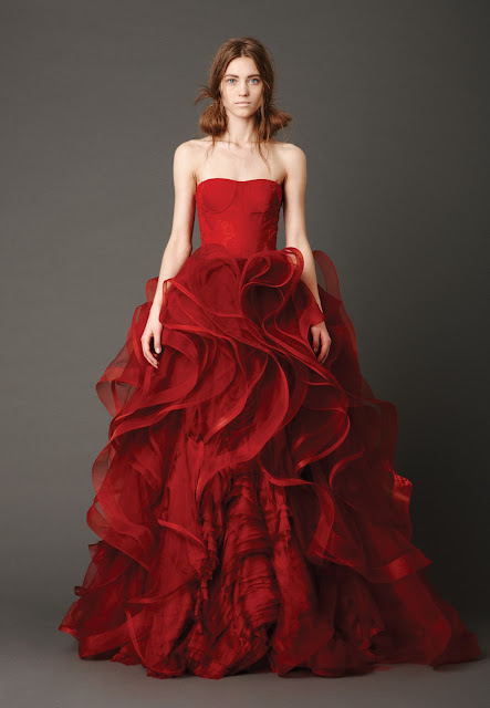 Red Ruffled Ball Gown Wedding Dresses 2013 from Vera Wang