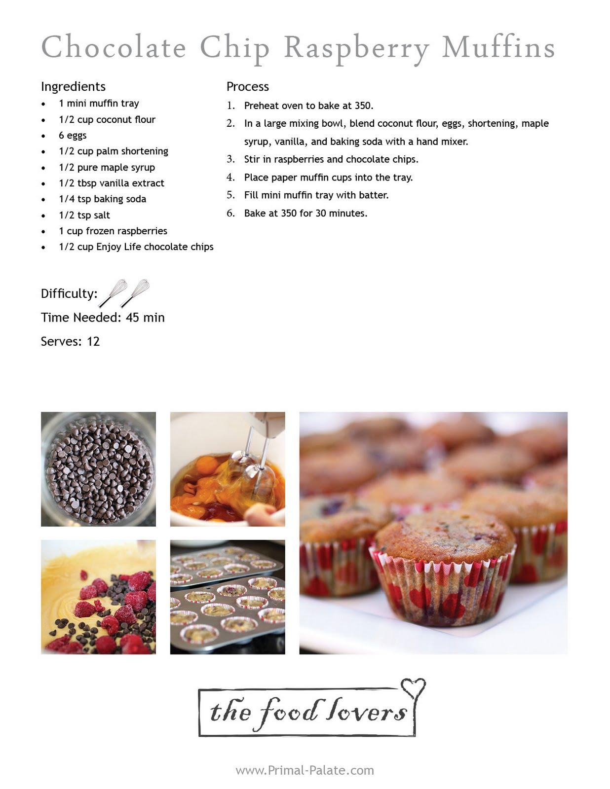 Chocolate Chip Raspberry Mini Muffins - Primal Palate | Paleo Recipes