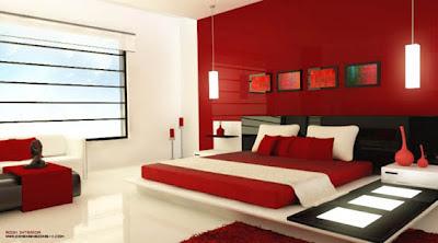 habitacion principal rojo y negro