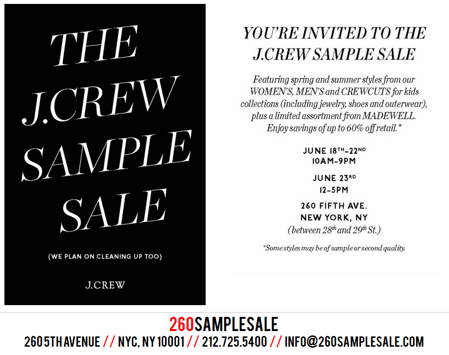 J.Crew Aficionada: J.Crew's NYC Sample Sale Starts Today!