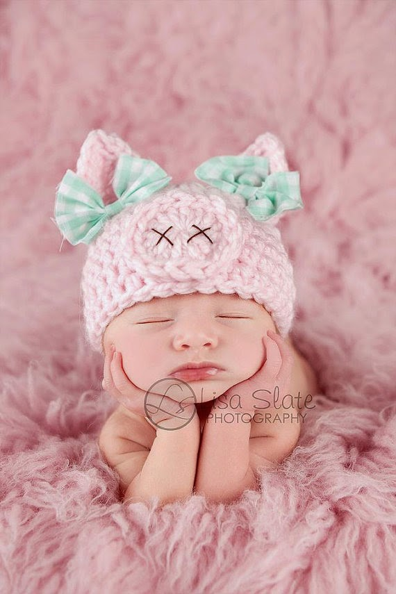 Newborn pig hat .. spring hat .. newborn photo prop .. piggy hat .. pink .. baby girl hat .. animal hat .. NEWBORN SIZE baby shower gift pink pig
