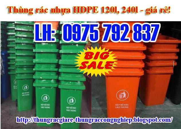 giá sỉ-Thùng rác công nghiệp 240 lít, nắp kín