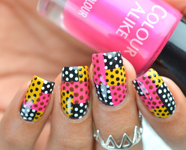Abstract Polka dot nails