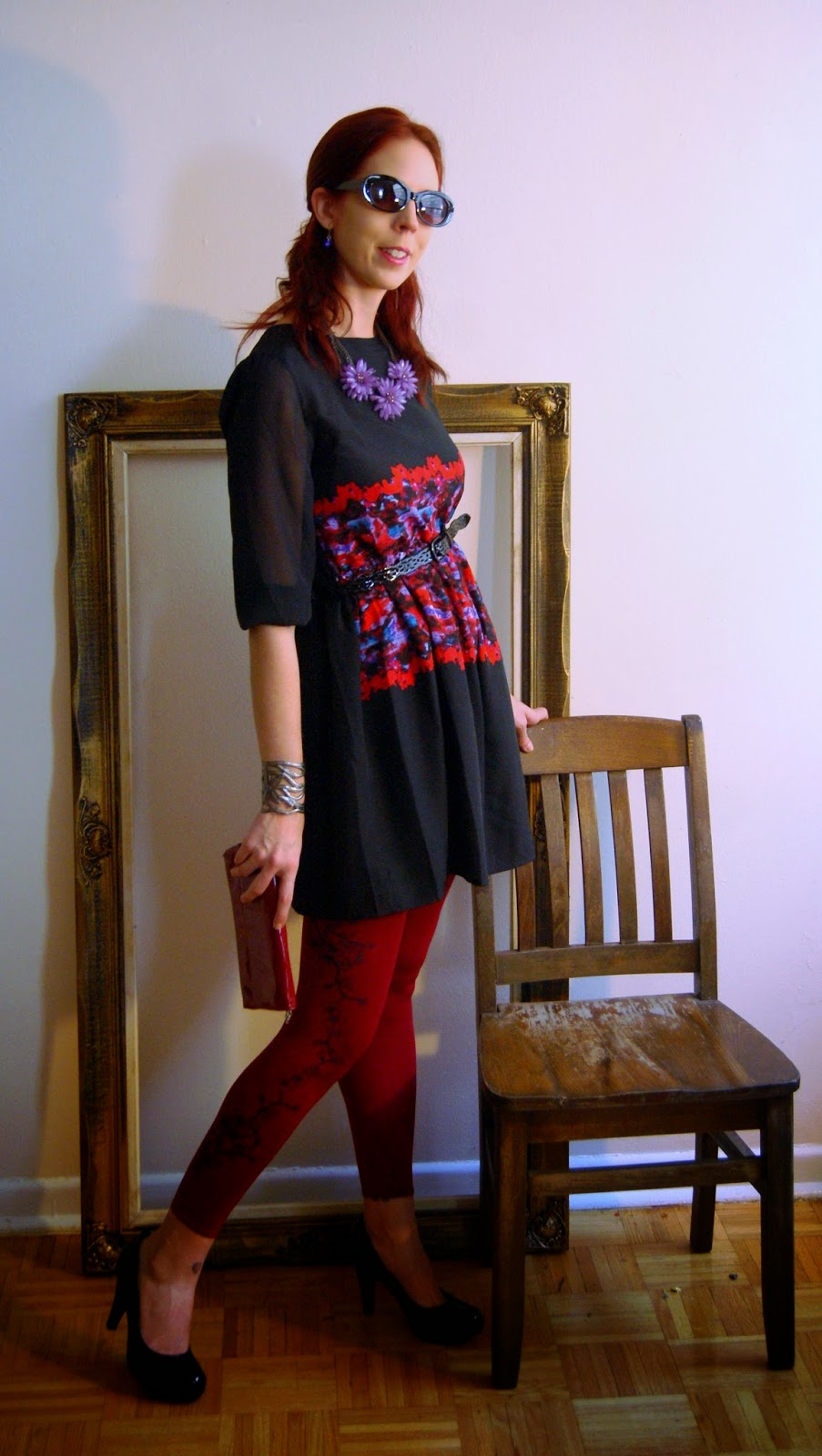 TFI New Labels Competion Winner: Sarah Stevenson's Collection for Target, Zohara Tights, Local Buttons Bracelet, Suzy Sheir Necklace, Fashion Style Canadian Designer Melanie.Ps Toronto The Purple Scarf