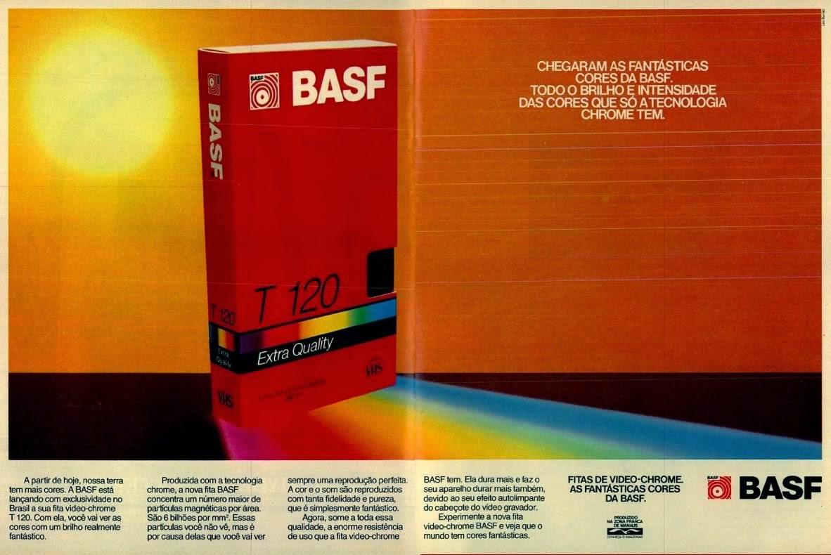 Propaganda das fitas VHS da BASF, em 1988. Era de sucesso dos vídeo-cassetes.