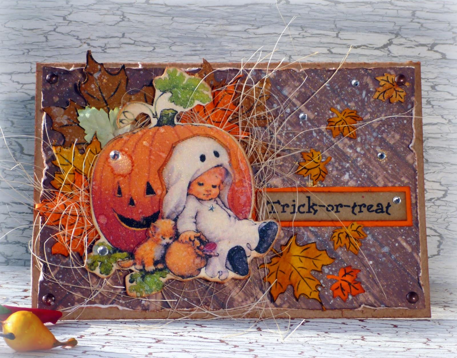скарпбукинг, открытка на хэллоуин