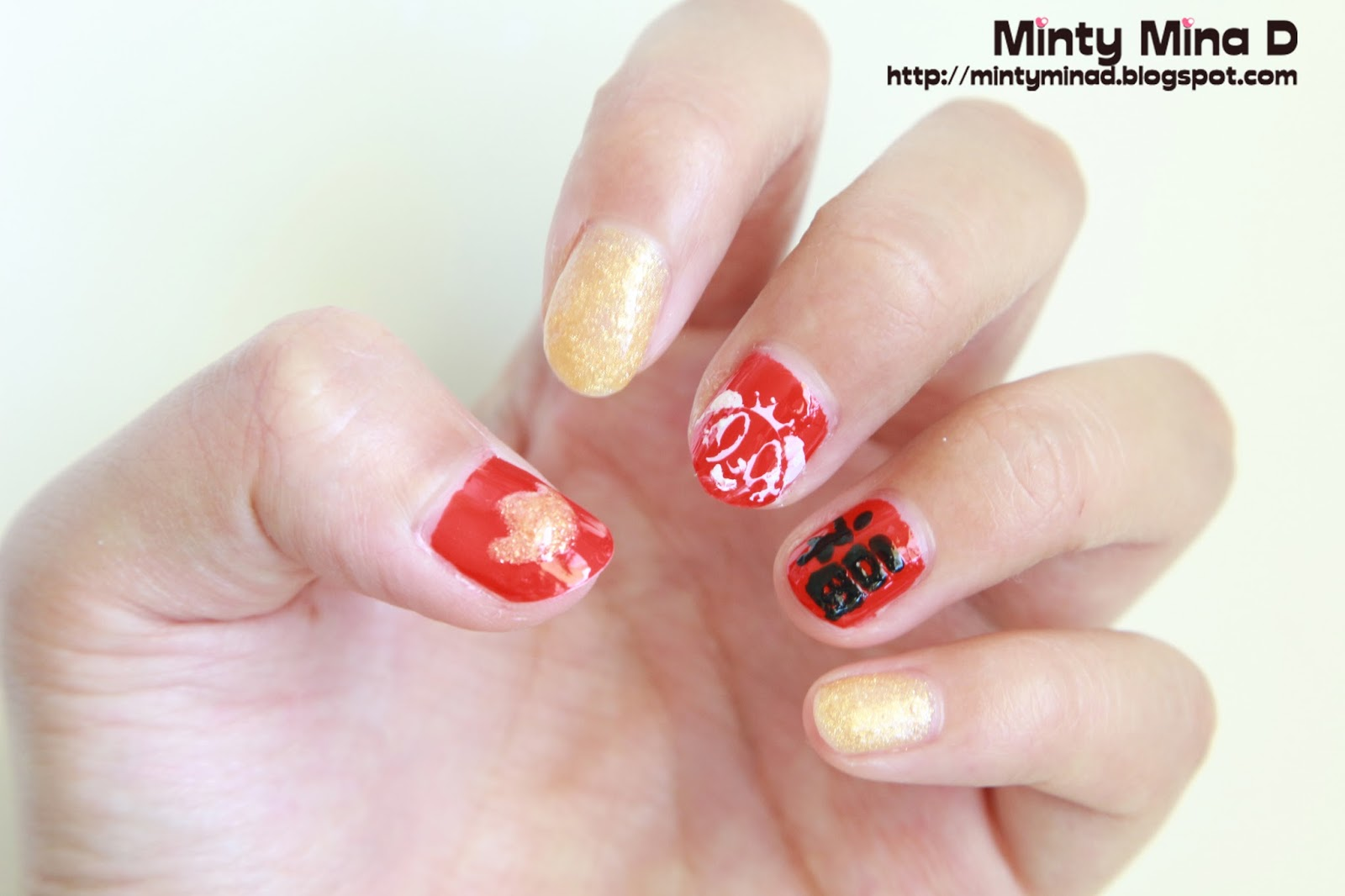 Minty mina d chinese new year nail art and bornprettystore nail design is the stamping nail art and the chinese character i have also matched the base colors of red and gold to the theme of chinese new year prinsesfo Choice Image