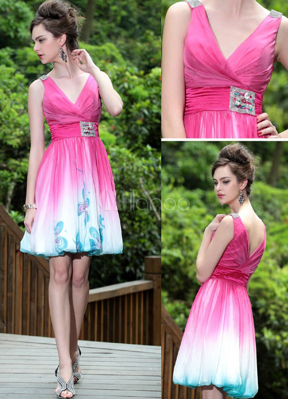 China Wholesale Clothes - Ethnic Pink V-Neck Chiffon Women's Cocktail Dress