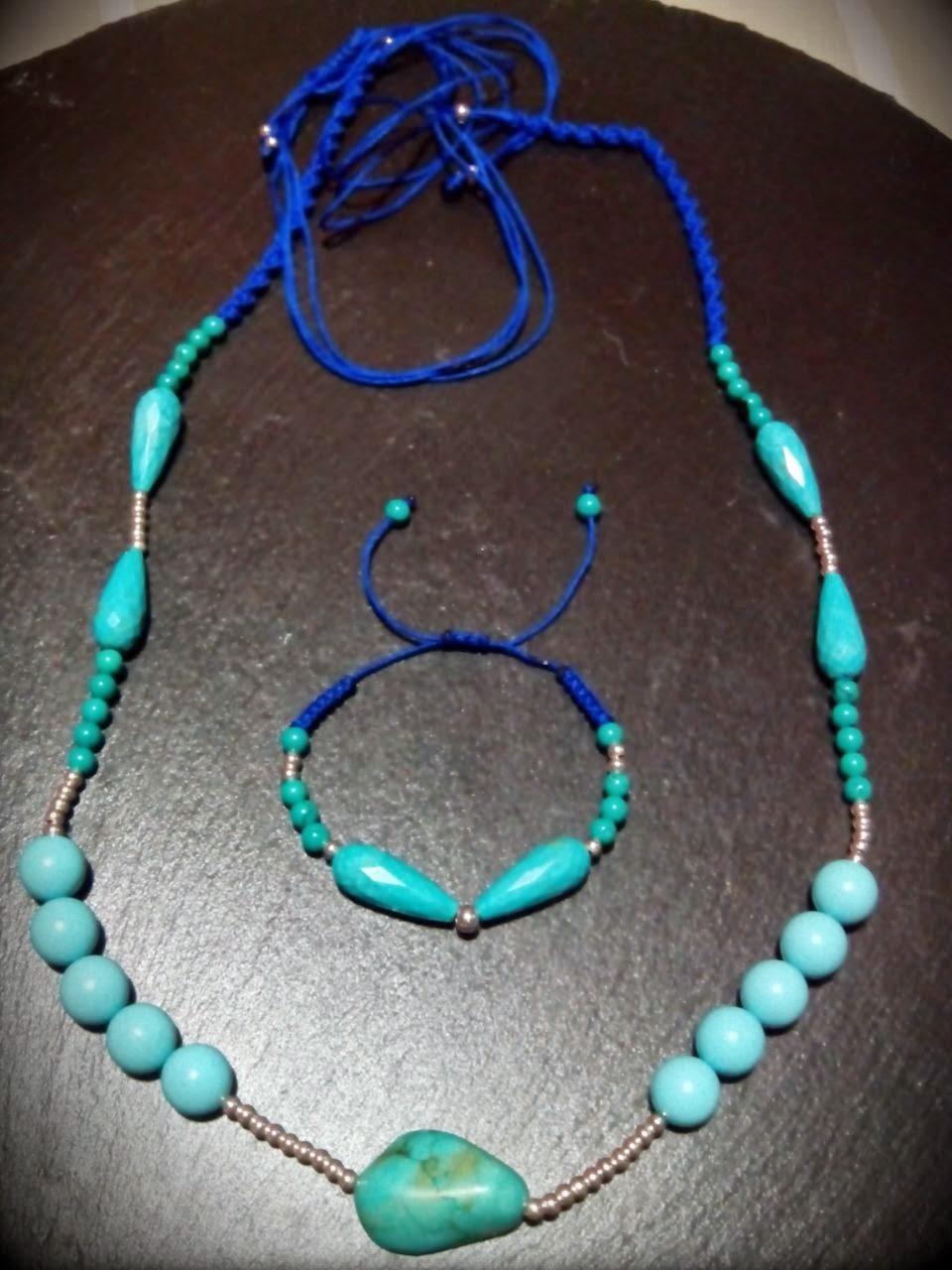 Pulsera y collar plata turquesa y howlita artesanal personalizada. Joyería