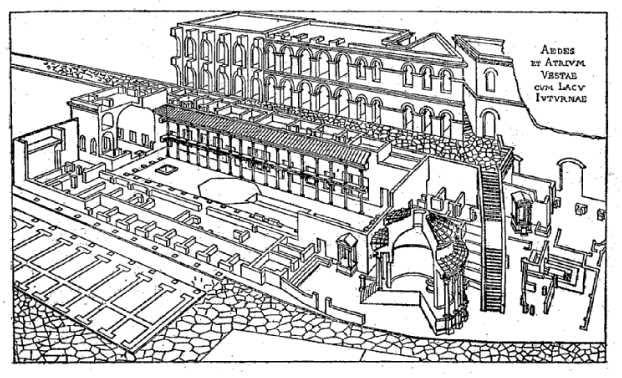 Storia romana ricostruzione del tempio di vesta e della for Due case di tronchi storia
