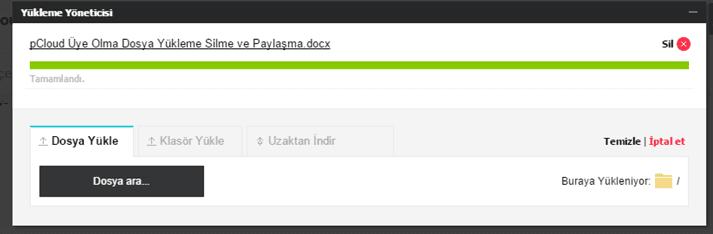pCloud Dosya Yükleme Silme ve Paylaşma