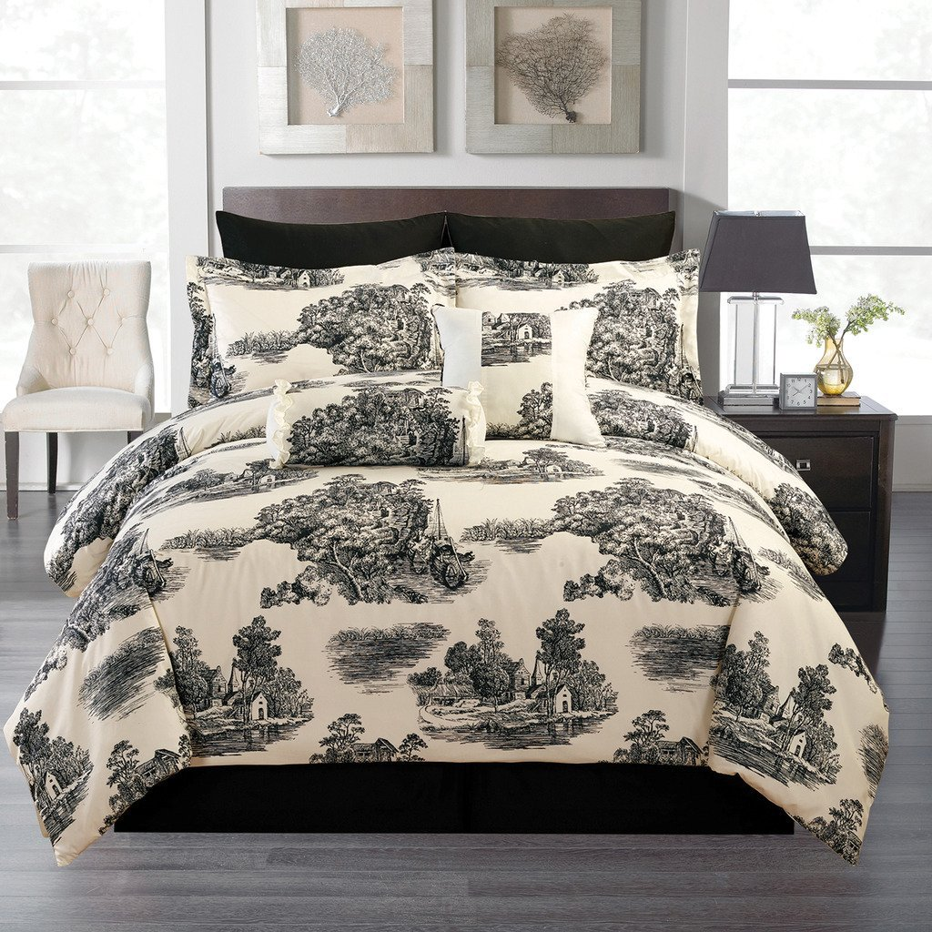 Budget Wise 8 Pce Cream And Black Toile Comforter Bedding Set