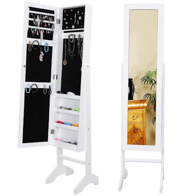 espejo joyero en color blanco