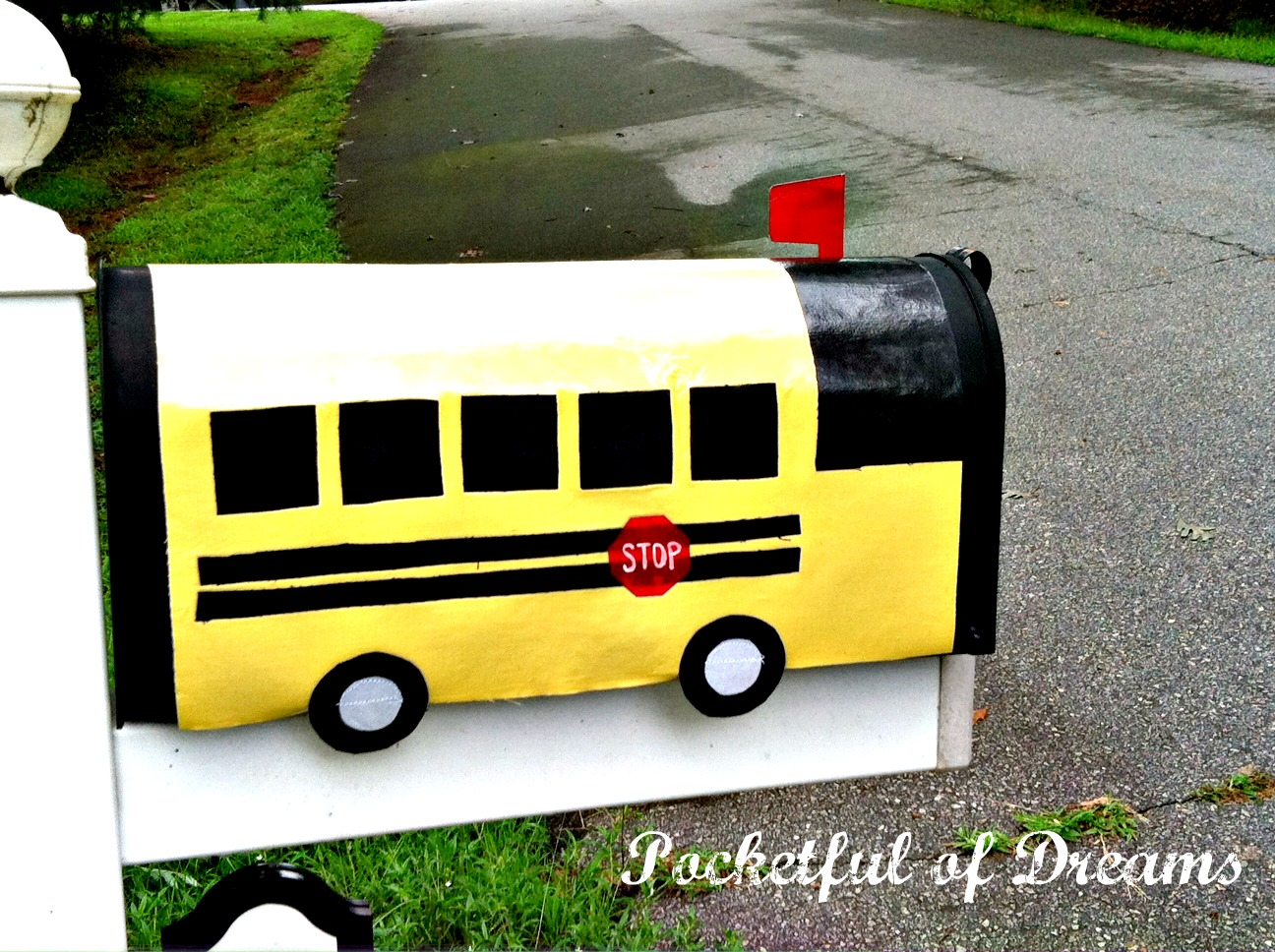 Pocketful Of Dreams School Bus Mailbox Cover