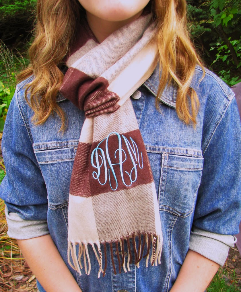 brown check monogram scarf
