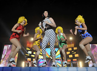 Katy Perry on stage with a dance crew