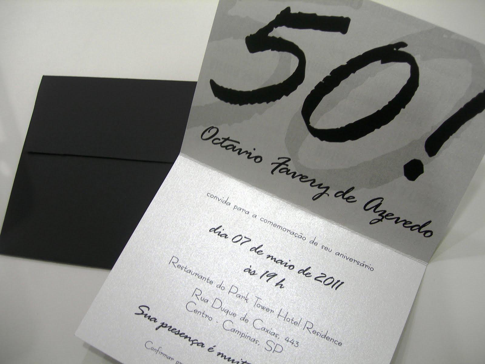 Convite de Aniversario 50 Anos Feminino Aniversário de 50 Anos
