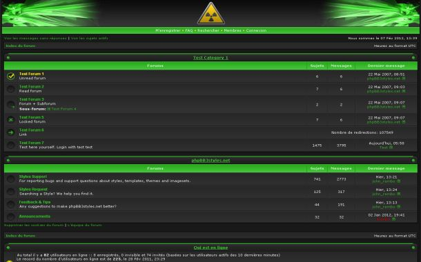 Free Fresh Green Black Phpbb Style Theme Template