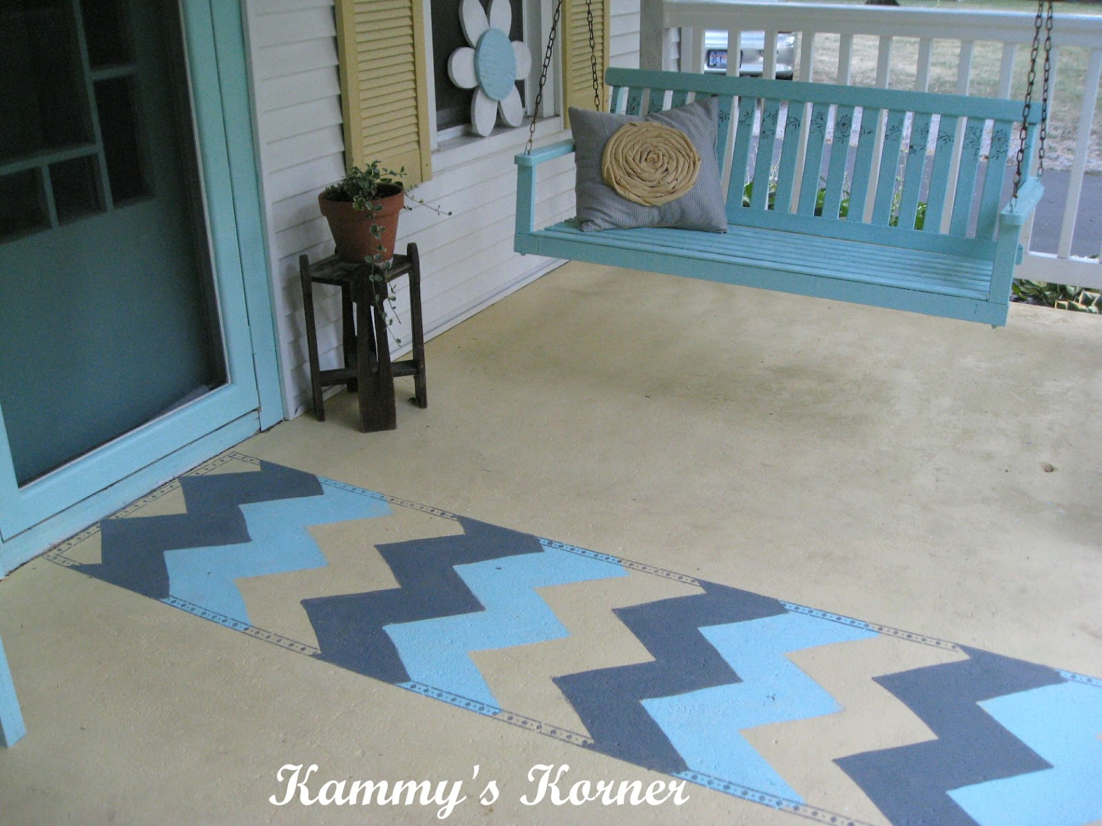 "Kammy s Korner Outdoor ""Rug"" Painted Cement"