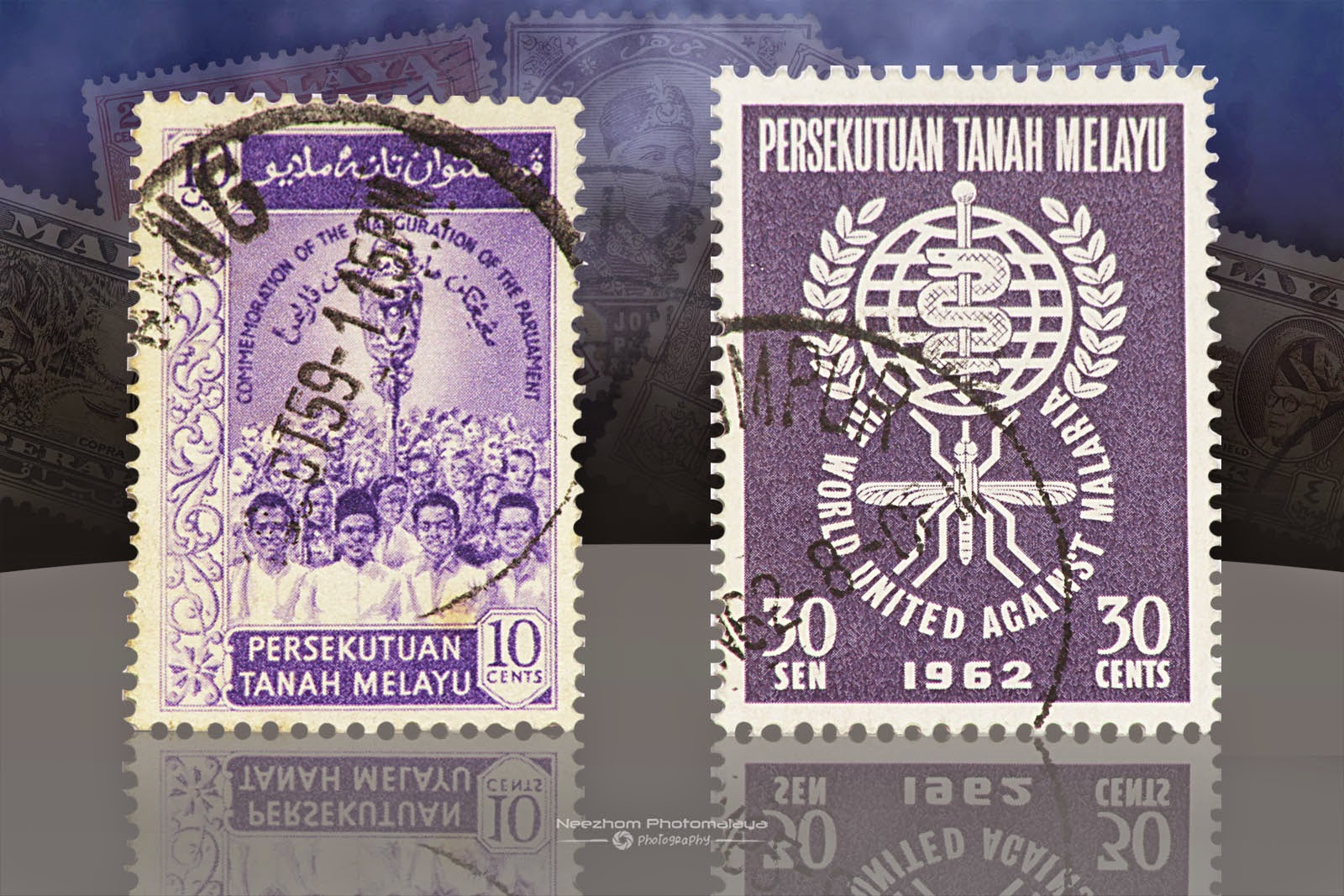 Malaya stamps 10 Cents Commemoration of the inauguration of the parliament, 30 Sen World United Against Malaria 1962