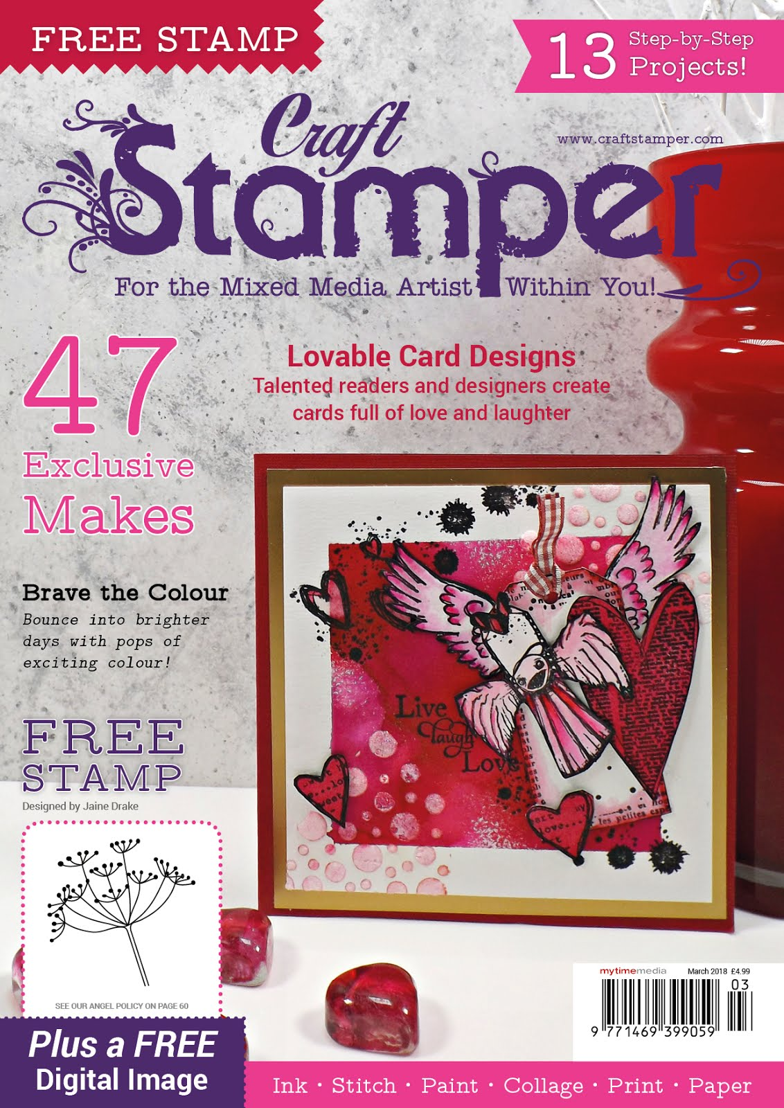 Mixed Media Card Published in Craft Stamper Magazine, March 2018 Issue