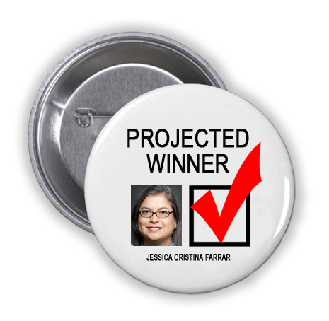JESSICA FARRAR IS A PROJECTED WINNER IN THE TUESDAY, NOVEMBER 8, 2016 PRESIDENTIAL ELECTION