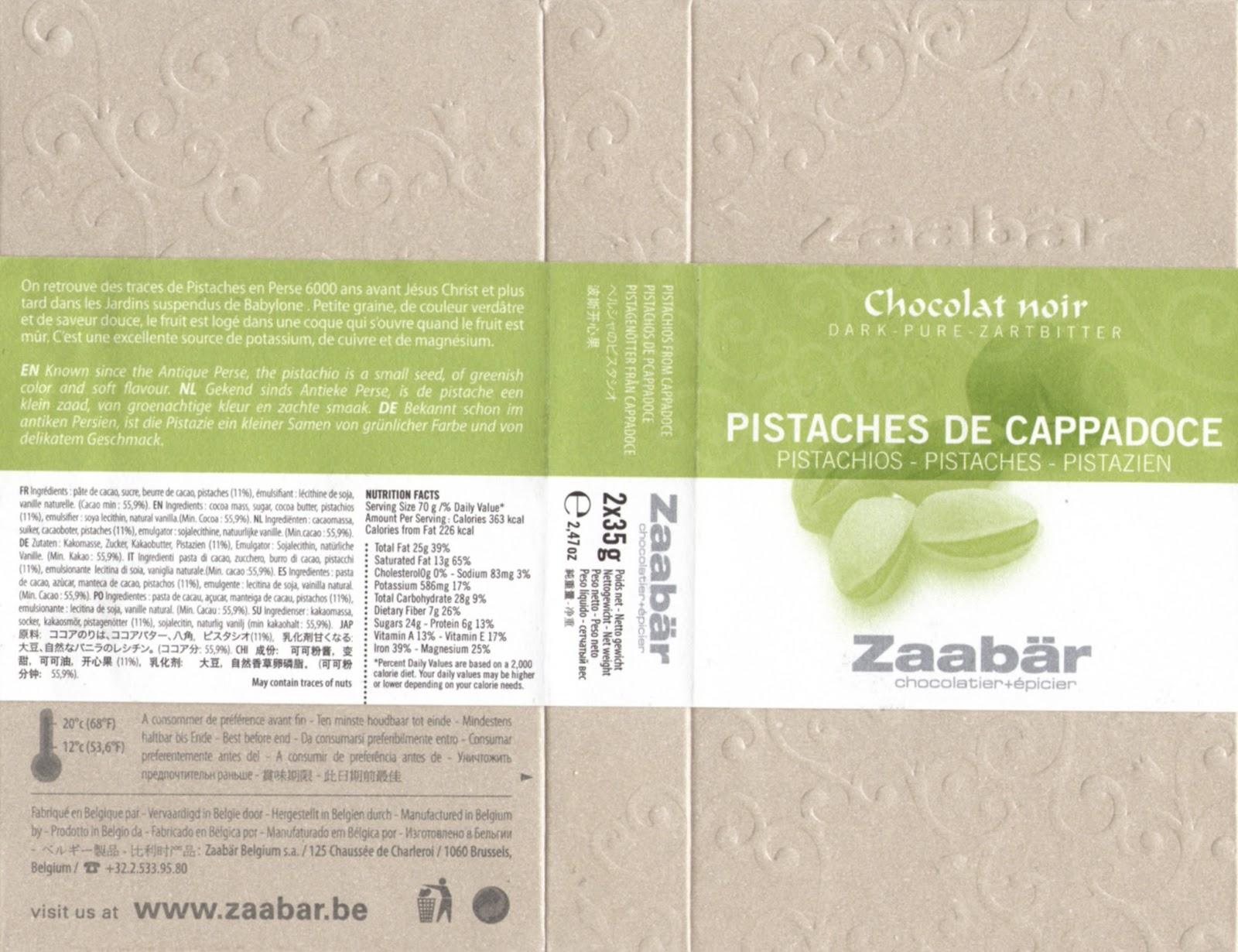 tablette de chocolat noir gourmand zaabär noir pistaches de cappadoce