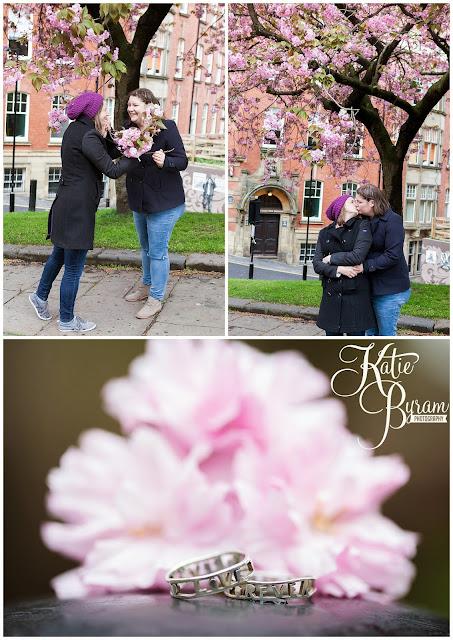 civil partnership conversion, civil partnership, northumberland, cherry blossom, newcastle city centre, same sex couple, gay wedding, katie byram photography, two brides, gay engagement,