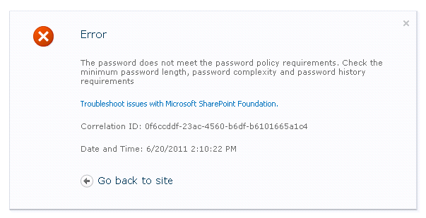the specified password does not meet requirements for