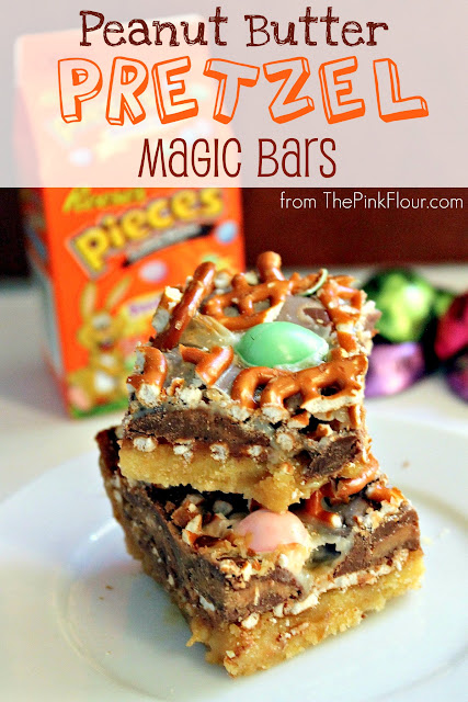 Peanut Butter Pretzel Caramel Magic Bars - made using Reese's & Reese's Pieces