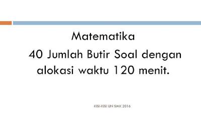 Kisi-kisi UN SMK Jumlah Soal dan Waktu mapel mtk