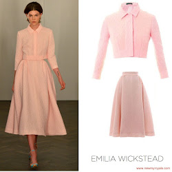 Sophie, Countess of Wessex Style EMILIA WICKSTEAD Midi Suit and  PRADA Suede Pumps