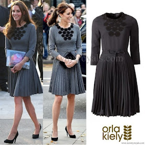 Orla Kiely Grey Pleated Flower Detail Dress as seen on Kate Middleton