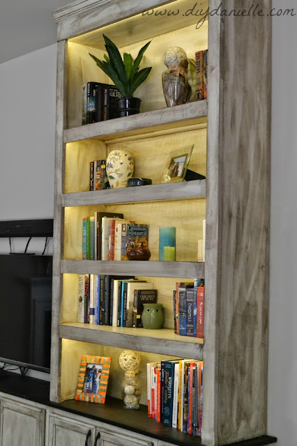 Close up of our lighted built in bookshelves.