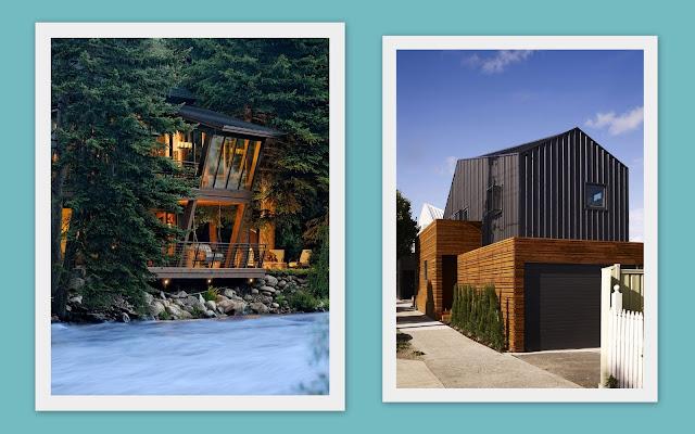 casas modernas en madera y negro