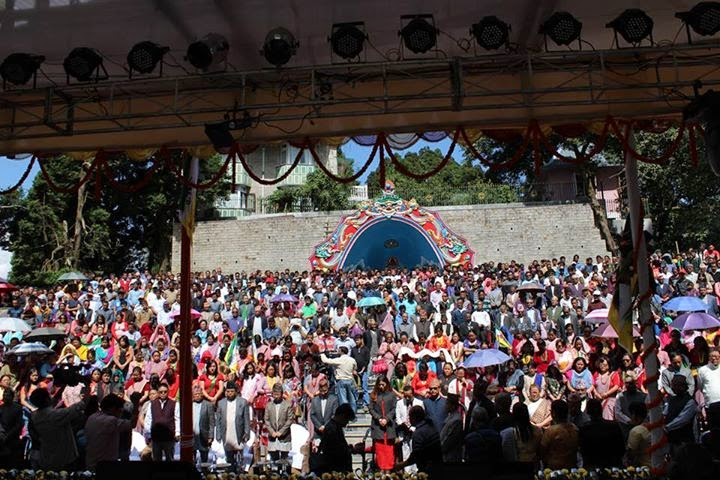 Gorkha Janmukti Morcha (GJM) supporters at foundation day at Open Air Theatre Darjeeling Chowrasta