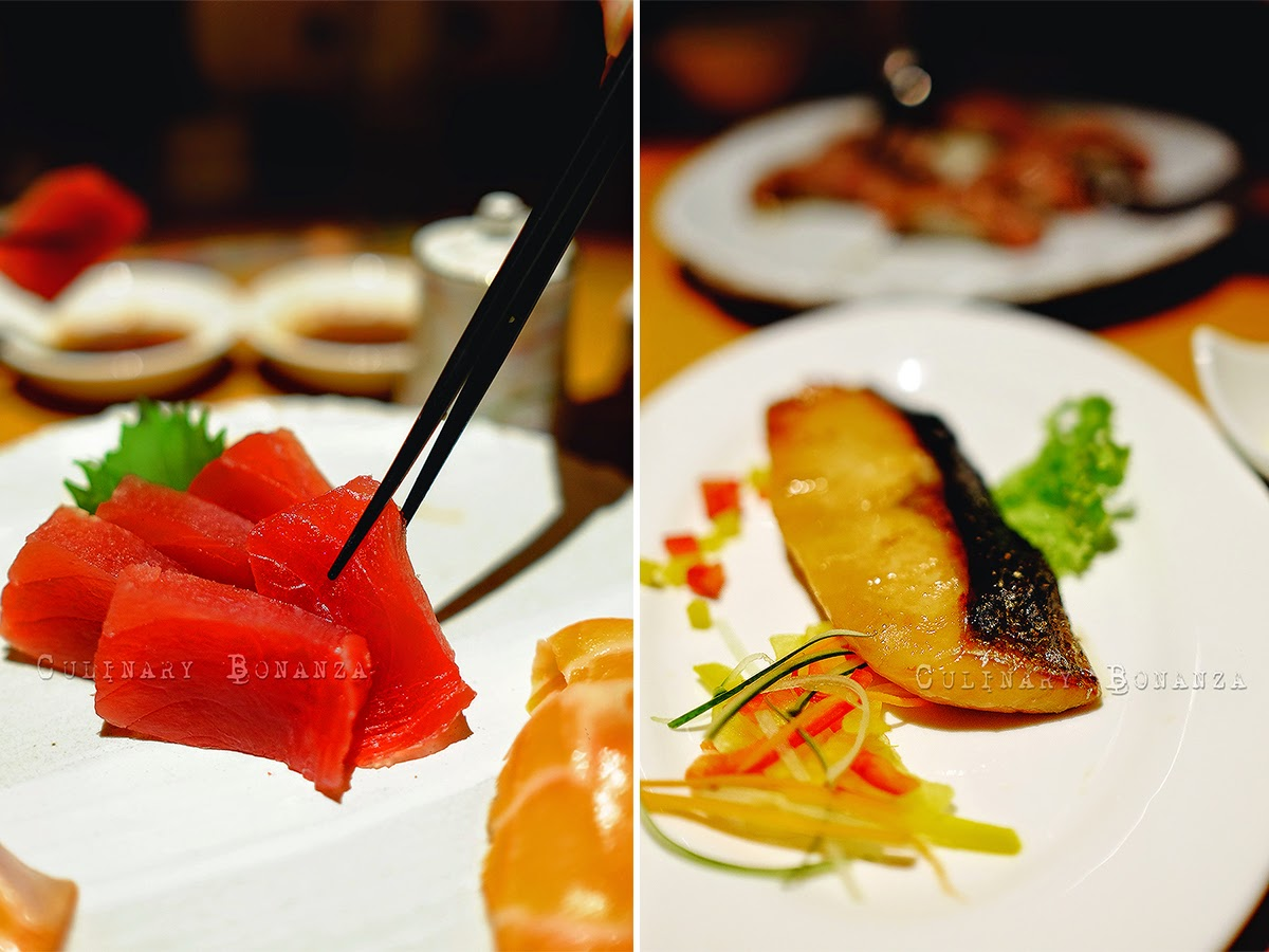 Left: Maguro Sashimi | Right: Grilled Salmon Misoyaki