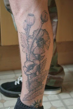 Black and white floral leg tattoo: Tattoo Trends - Flowers