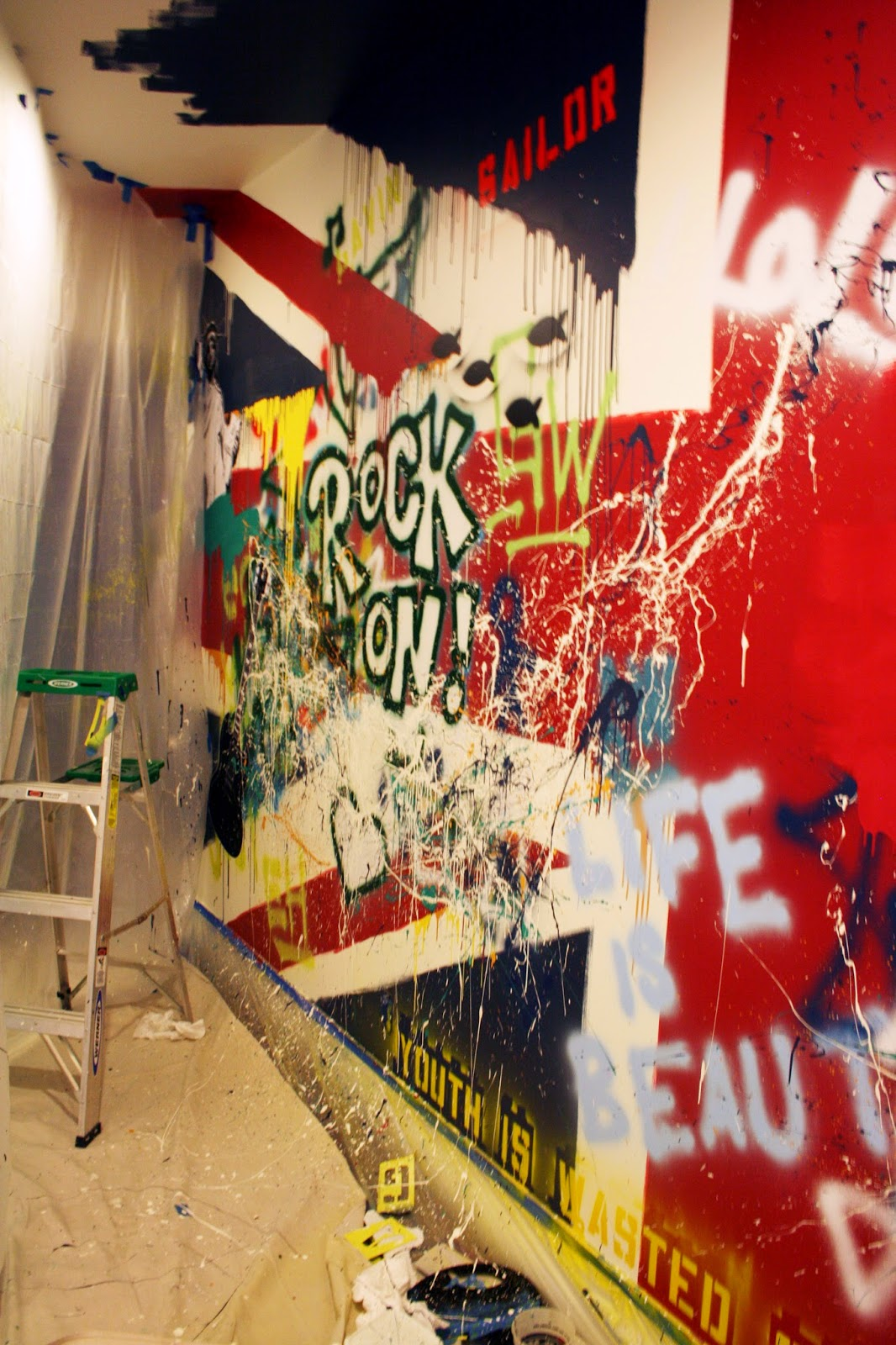 the Beatles Union Jack Rock and Roll Painted Wall Mural progress
