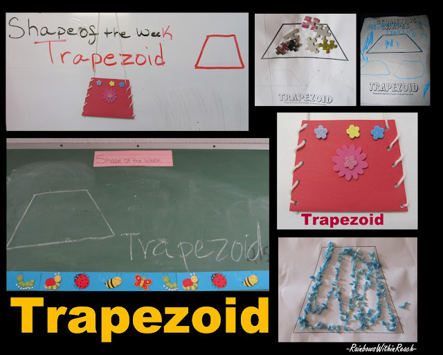 photo of: trapezoid shape in preschool, fine motor lacing activity, shapes in art for children