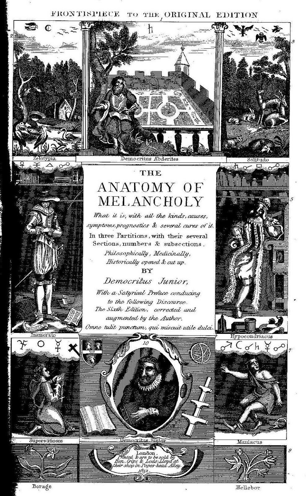 Frontispiece to original edition of The Anatomy of Meloncholy