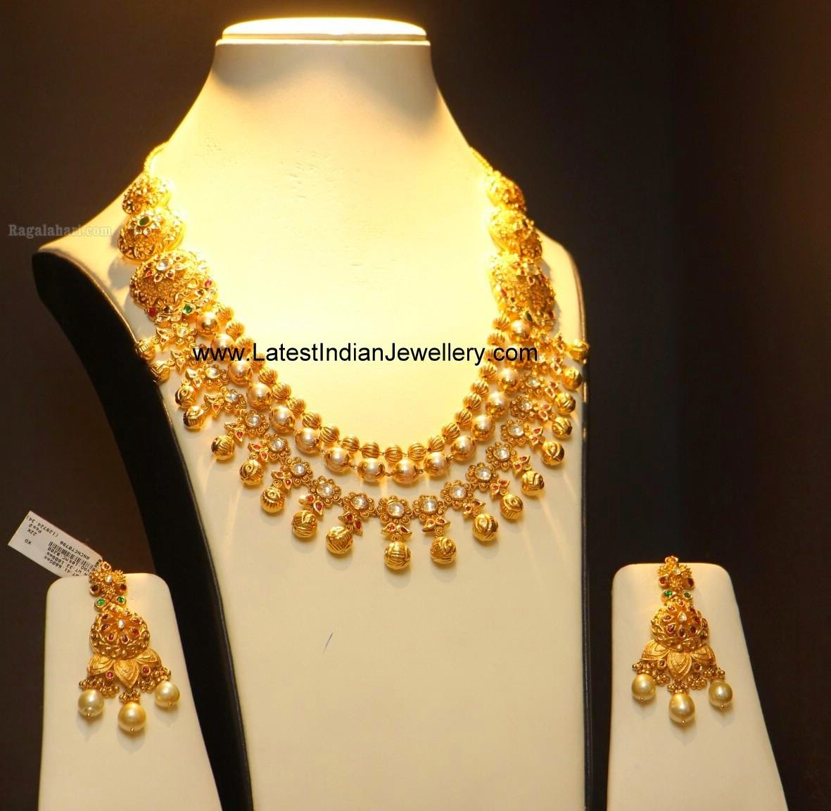 latest gold bridal necklace earrings set