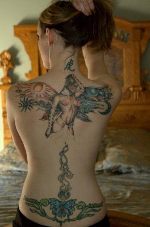 full back lower back angel butterfly tattoo design