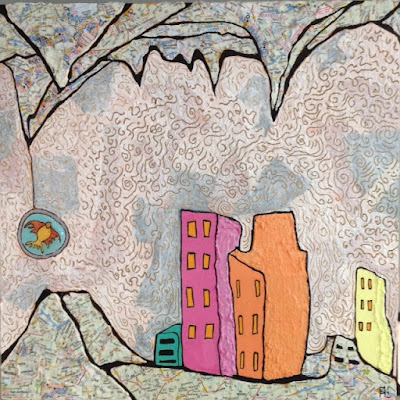 global warming, submerged cities, subterranean cities, collage, painting, Annette Martin, fish