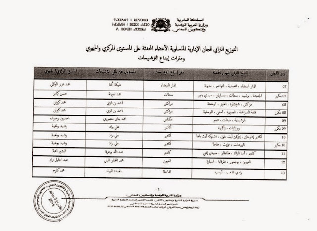 مذكرة في شأن الإجراءات التنظيمية لانتخاب ممثلي موظفي وزارة التربية الوطنية في اللجان التنائية