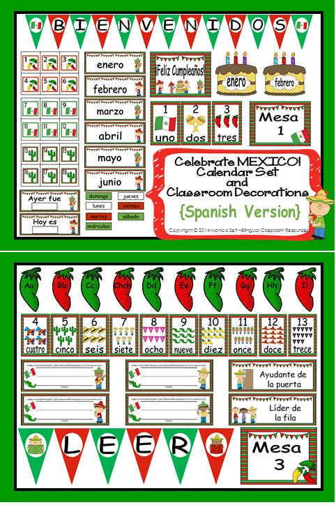 http://www.teacherspayteachers.com/Product/Celebrate-MEXICO-Calendar-Set-and-Classroom-Decorations-Spanish-Version-1101317