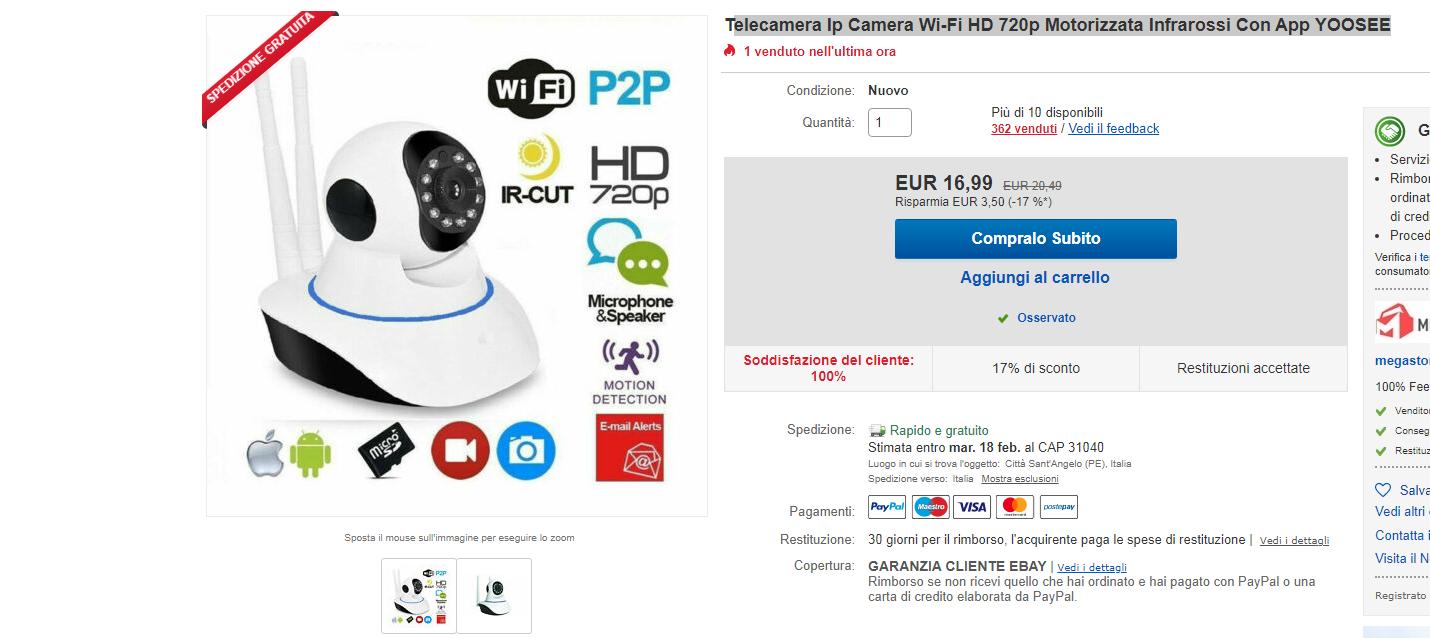 ip camera 16.99 euro spedizione gratis