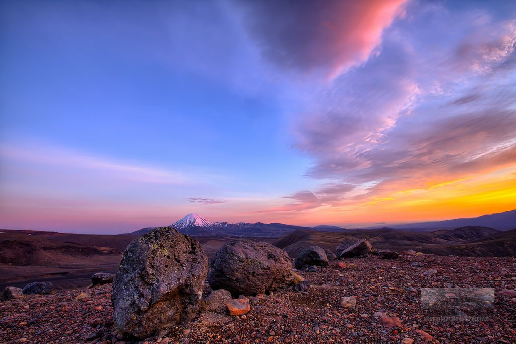 Sunrise lights up Lenticular Clouds Mt Ruapehu, New Zealand