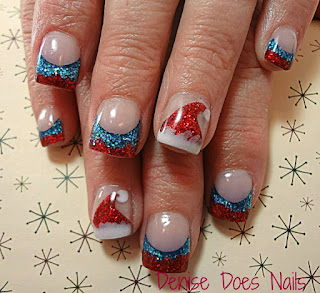 Santa hats Christmas nails